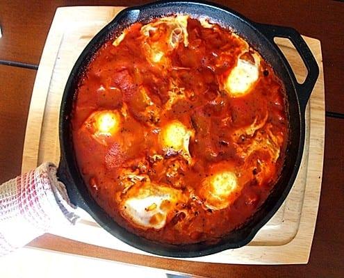 Shakshuka - Eggs on tomatoes