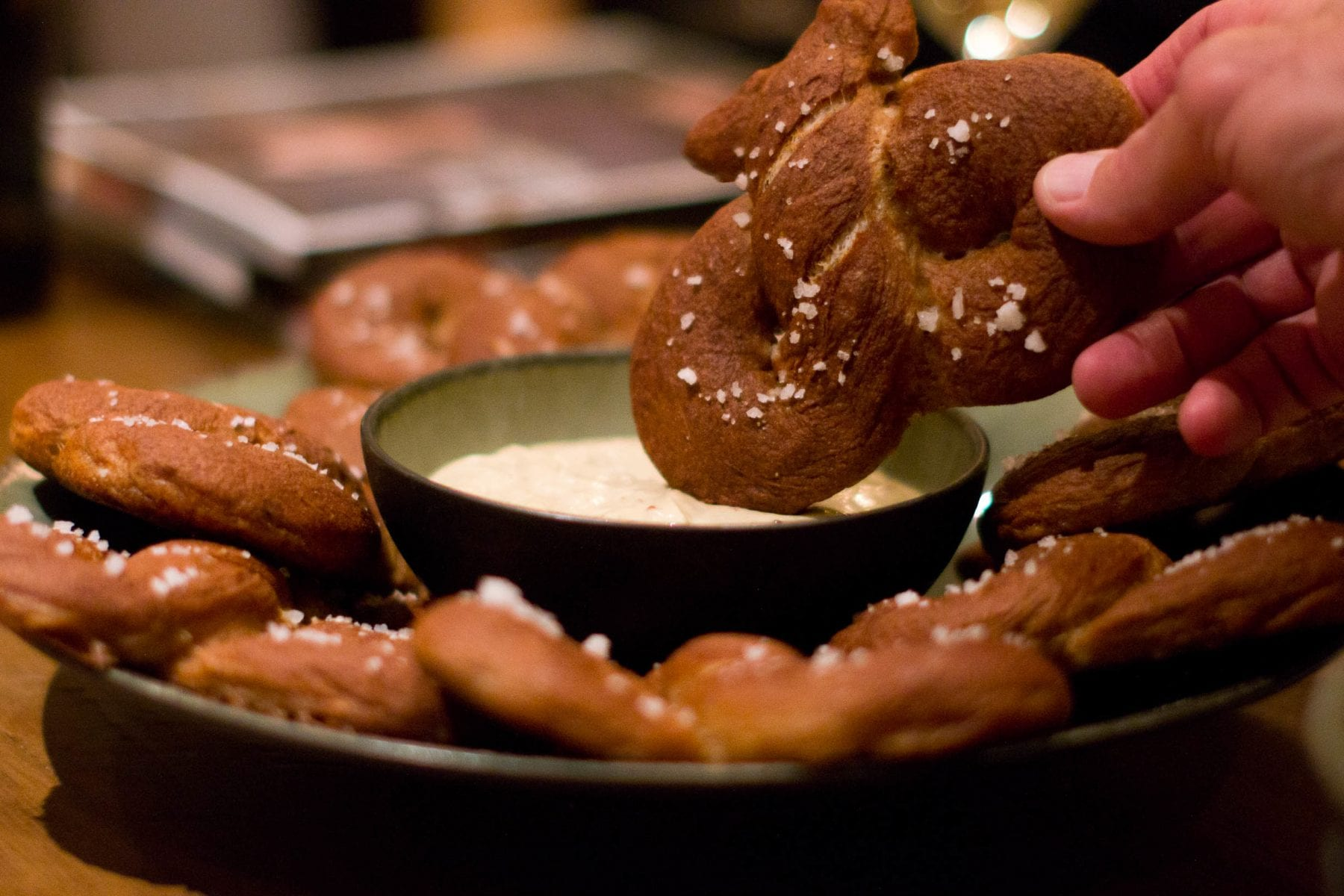 A soft pretzel with a healthy dose of spelt