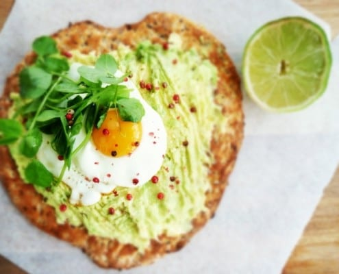 Sunny Side Egg and Avocado Breakfast Pizza Recipe