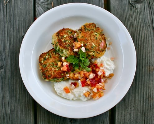 Zucchini Patties with ricotta and summer salsa