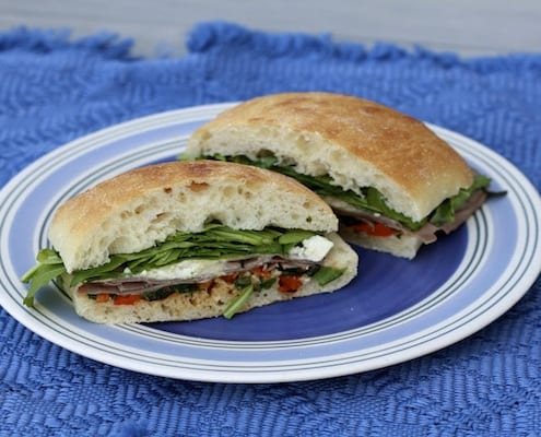 Roast Beef, Arugula, Red Pepper, and Feta Sandwiches