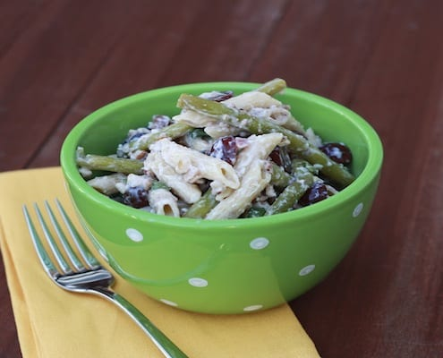 Green Bean, Bacon, Grape Pasta Salad