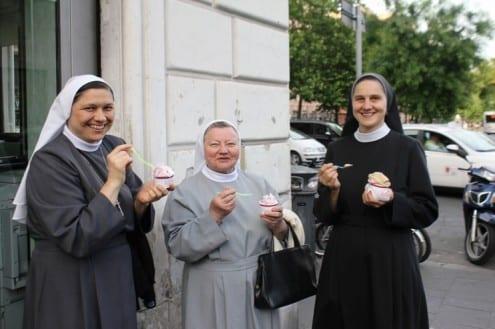 old bridge gelato Rome Vatican nuns