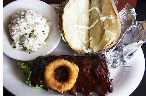 Baby Back Ribs with creamy cole slaw and baked potato