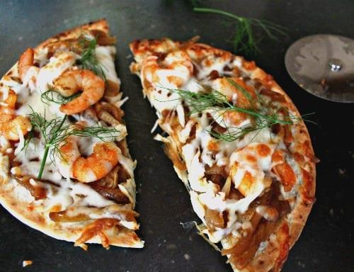 Shrimp and Fennel Onion Chutney Pizza