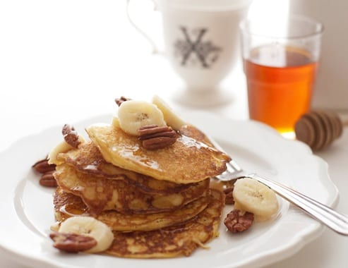 Ricotta Pancakes with Banana Syrup