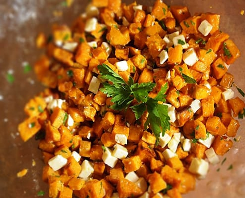 Sweet Potato Salad with Feta Cheese