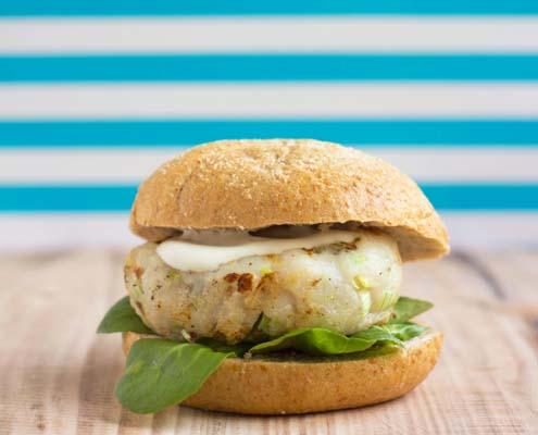 fish burger with wasabi and lemon mayonnaise