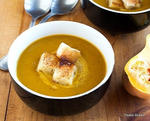 Butternut Squash Soup with Curried Lentils