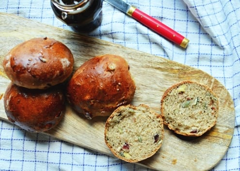 Autumn Buns with Cranberries and Pumpkin