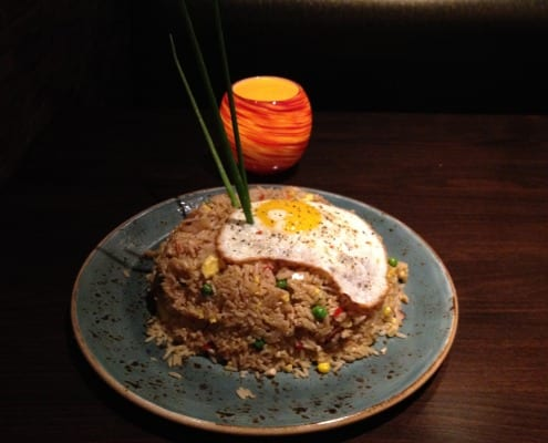 "With the addition of your leftover turkey, the famous ""Japengo Fried Rice"" recipe is fit for a king."