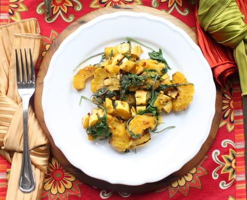 Wilted Kale & Delicata Squash Salad