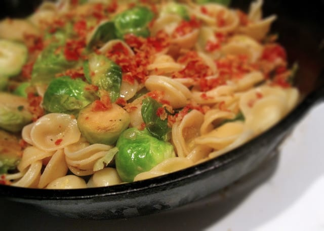 Orecchiette with Lemony Brussels Sprouts and Pancetta