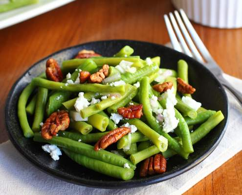 Green Beans with Sweet Spiced Pecans and Goat Cheese