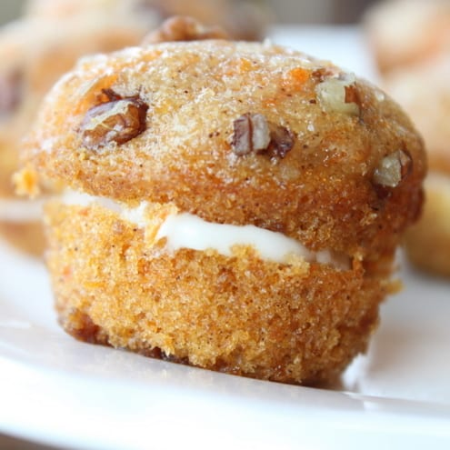 Mini Pumpkin Muffins with Cream Cheese Frosting