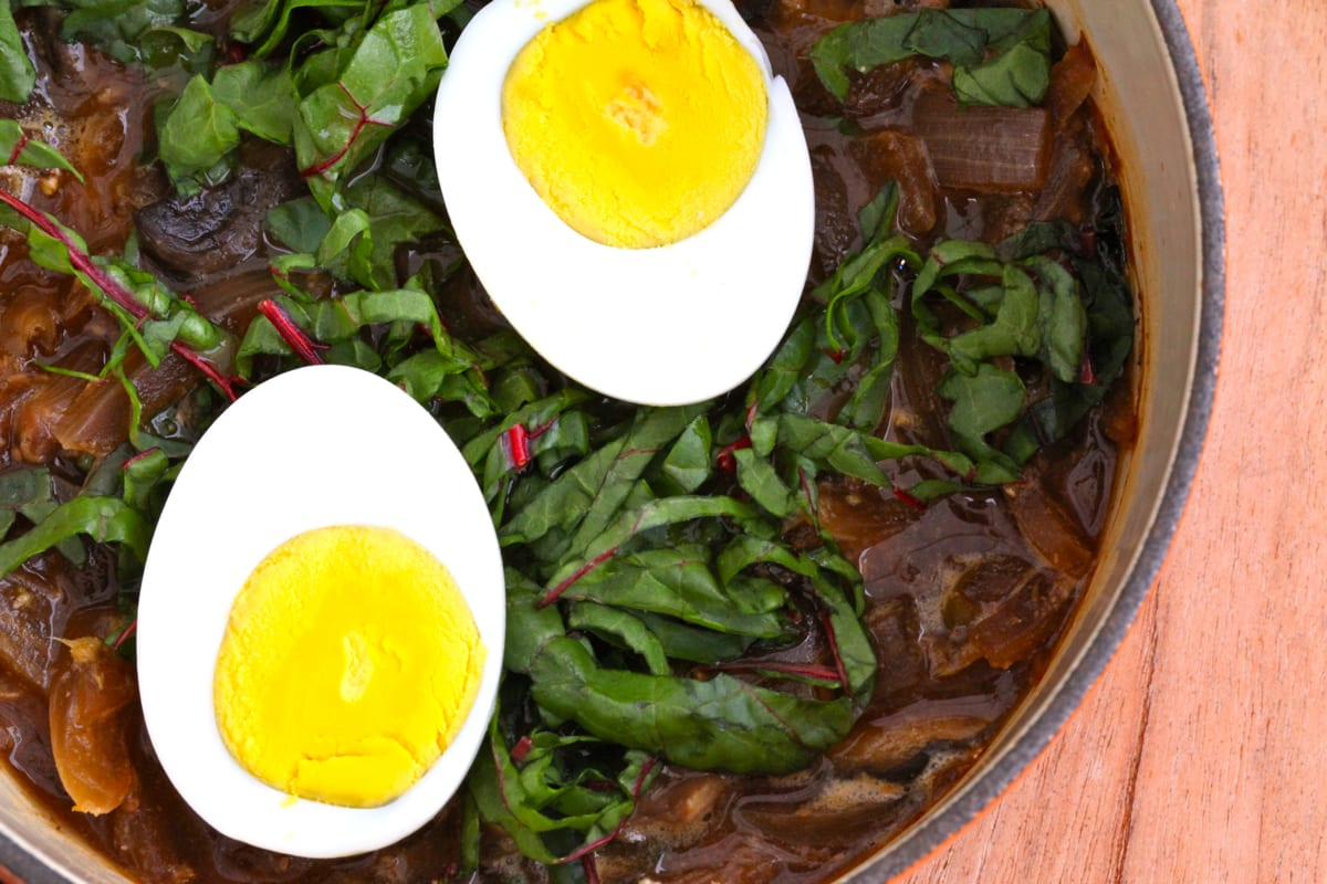 Miso Ginger Soup with Red Chard