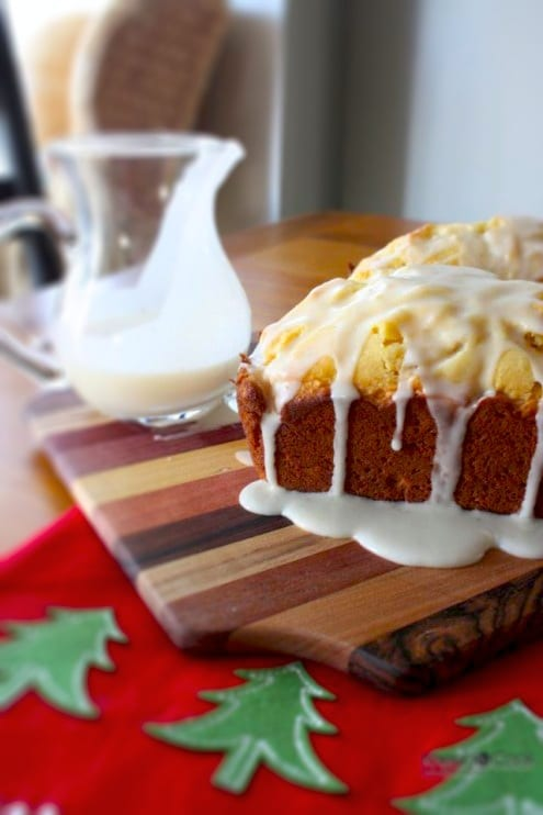 Eggnog bread with a rum glaze.