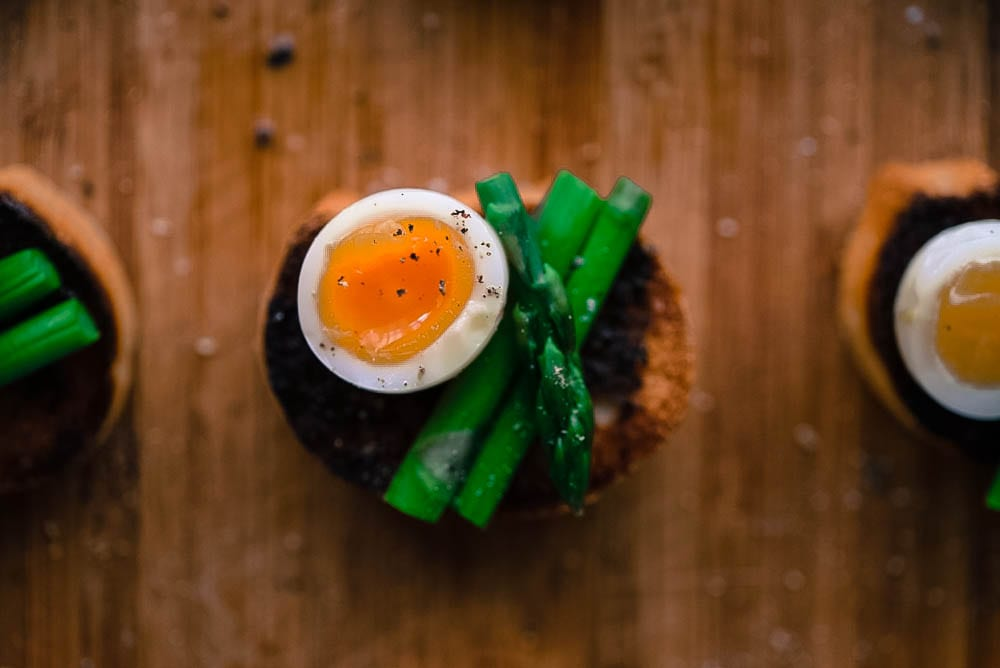 Quail Egg, Truffle, Asparagus Bruschetta
