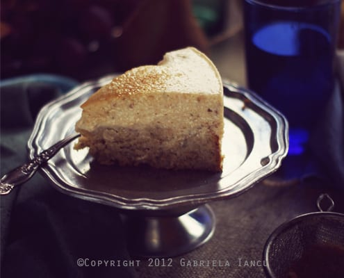 Rosewater and Pear Cheesecake with Multigrain Bottom