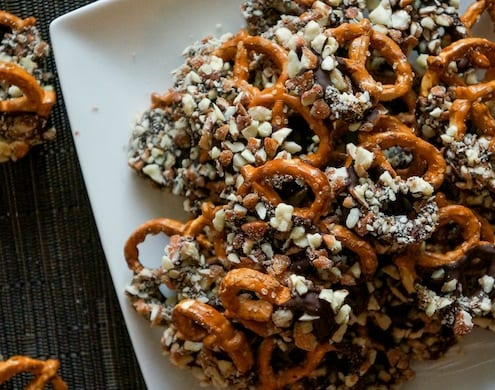 Cayenne Chocolate Almond Covered Pretzels Recipe