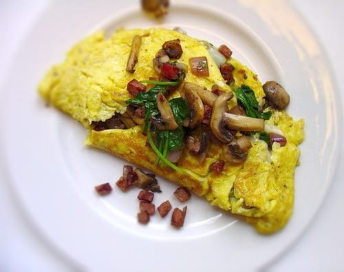 Spinach, Mushroom and Andouille Omelet Recipe