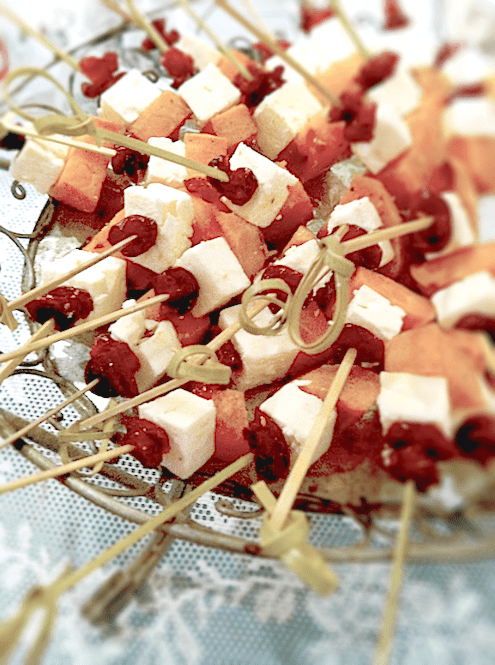 Sweet Potato, Feta and Cranberry Skewers