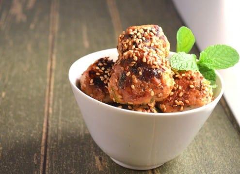 Mini Sweet Spicy Sesame Chicken Meatballs