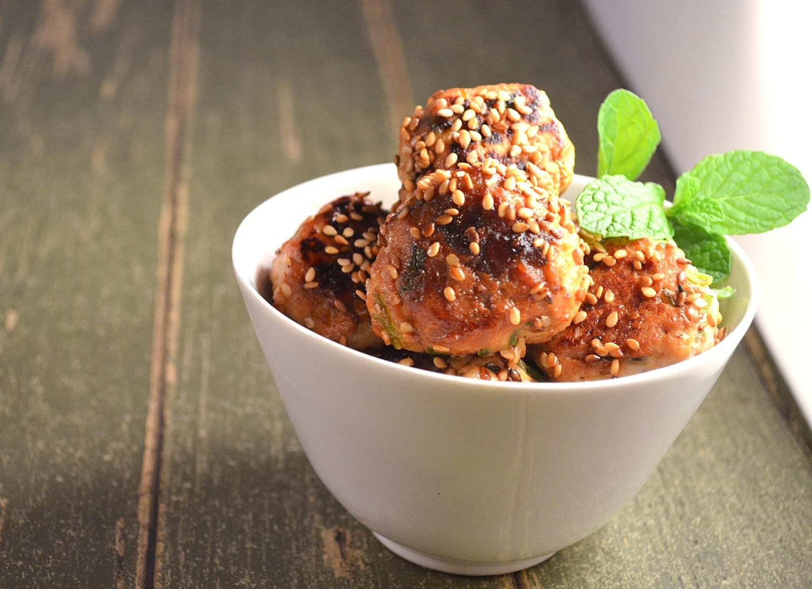 Mini Sweet Spicy Sesame Chicken Meatballs