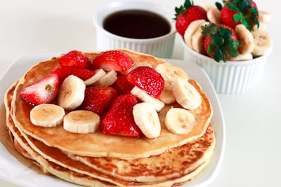 Pancakes with Strawberries and Banana Topping