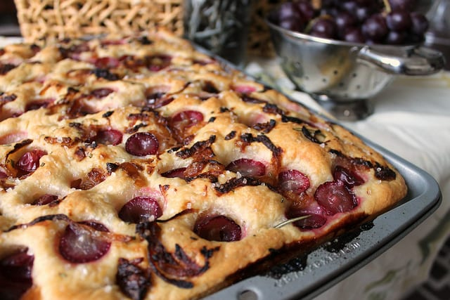Roasted Grape, Onion and Rosemary Focaccia