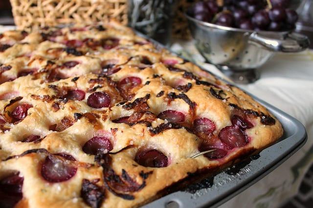 Roasted Grape, Onion and Rosemary Focaccia
