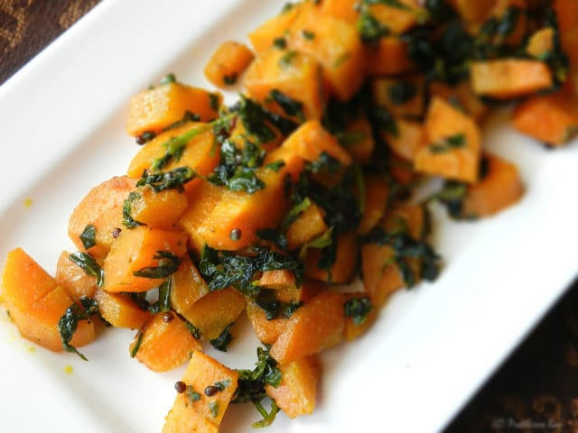 Carrots Sauteed with Fresh Fenugreek Leaves