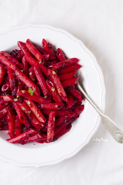 Beetroot Cream Penne with Toasted Poppy Seeds