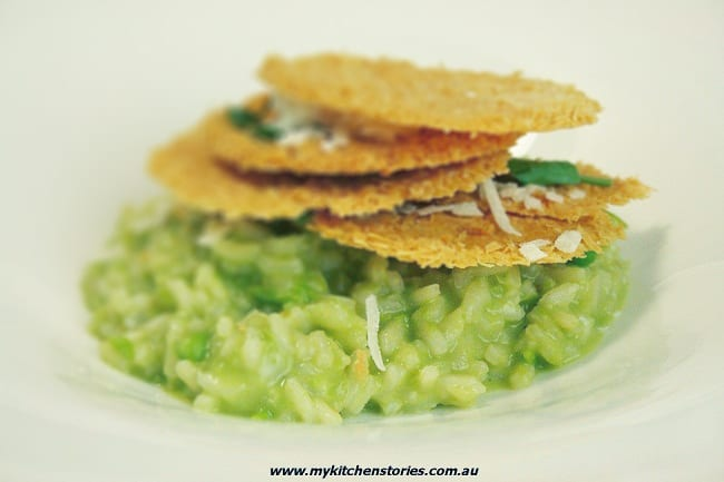 Pea Risotto with Parmesan Crisps
