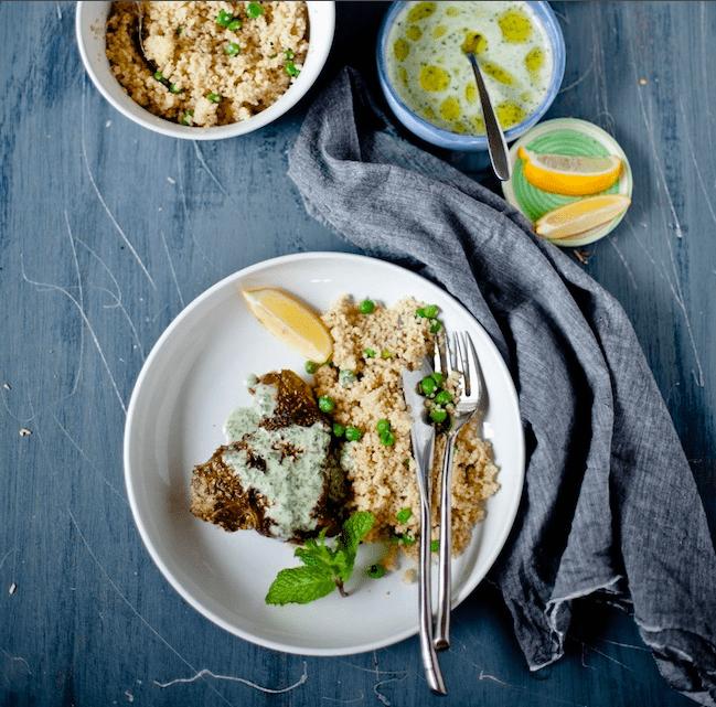 Dukkah-Crusted Lamb Chop with Yogurt Mint Sauce and Pea Couscous