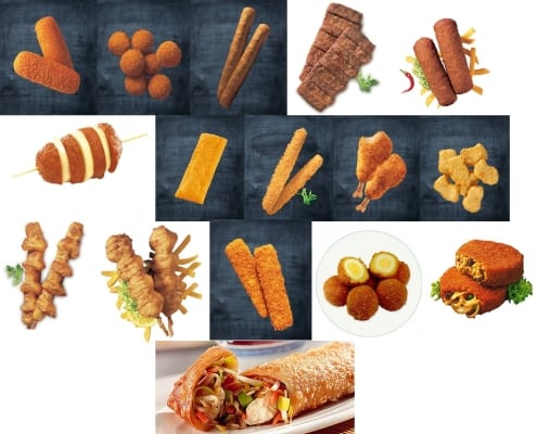 Deep-fried snacks (left to right, top to bottom): kroket, bitterballen, frikandel, mexicano/carrero, pikanto, berenhap, kaassoufflé, kipcorn, kipknots, kipnuggets, sitostick/kikastick, zeestick, fishcorn, eierbal, bamischijf and nasischijf, loempia.