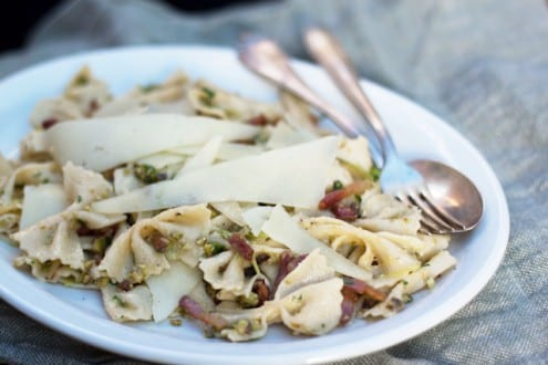 Farfalle with Pistachios and Pancetta