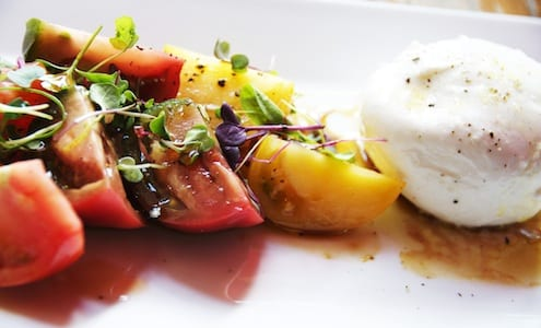Burrata with heirloom tomatoes