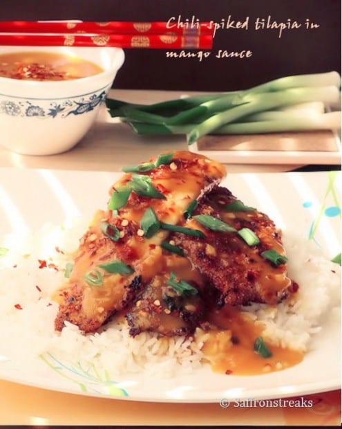 Tilapia Fish in Zesty Mango Sauce