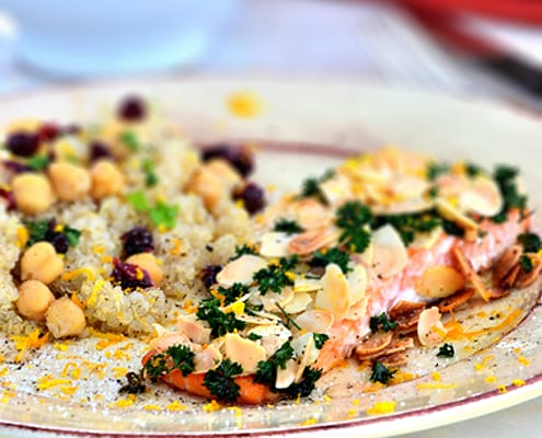 Crispy Almond Salmon with Cranberry Quinoa