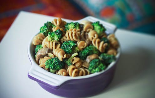 Broccoli and Mushroom Whole Wheat Pasta
