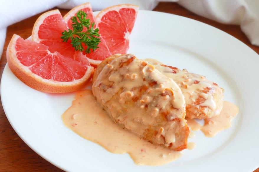Pan-seared Chicken with Pink Grapefruit Cream Sauce