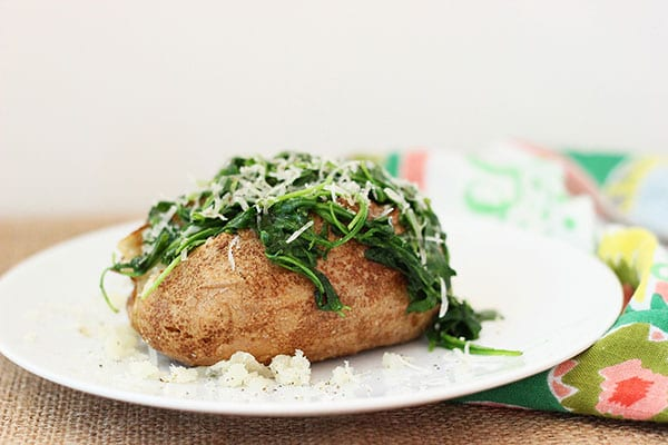 Baked Potato with Sautéed Arugula