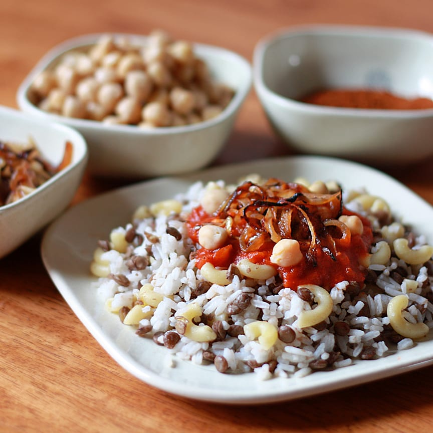 Koshari - Egyptian Rice, Lentils and Macaroni with Spicy Tomato Chile Sauce