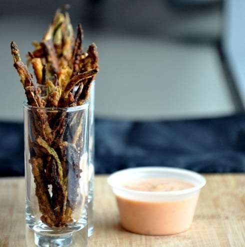 Okra Chips with Yogurt Sriracha Dip