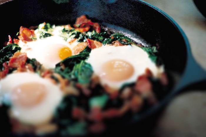 Spinach and Bacon Baked Eggs