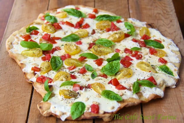 Grilled Pizza Margherita w/ Heirloom Tomatoes and Roasted Pine Nuts
