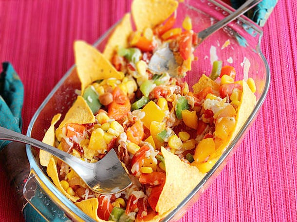 Crunchy Mexican Salad with Cheese and Nacho Chips