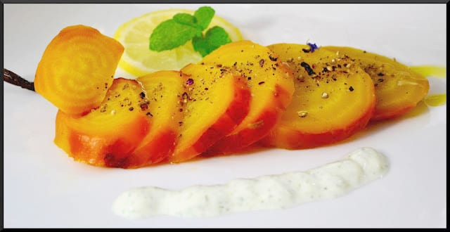 Roasted Golden Beets with Lemon and Mint Cream Sauce