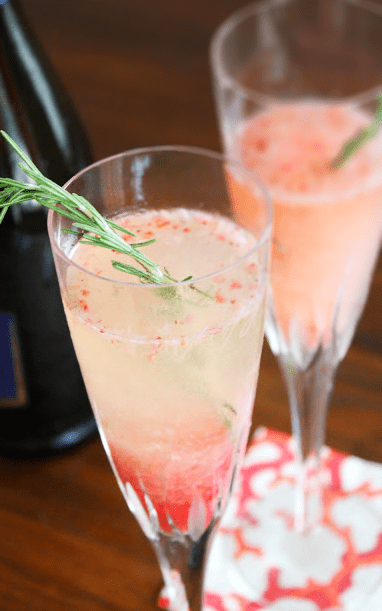 Roasted Rhubarb, Strawberry and Rosemary Prosecco Cocktail